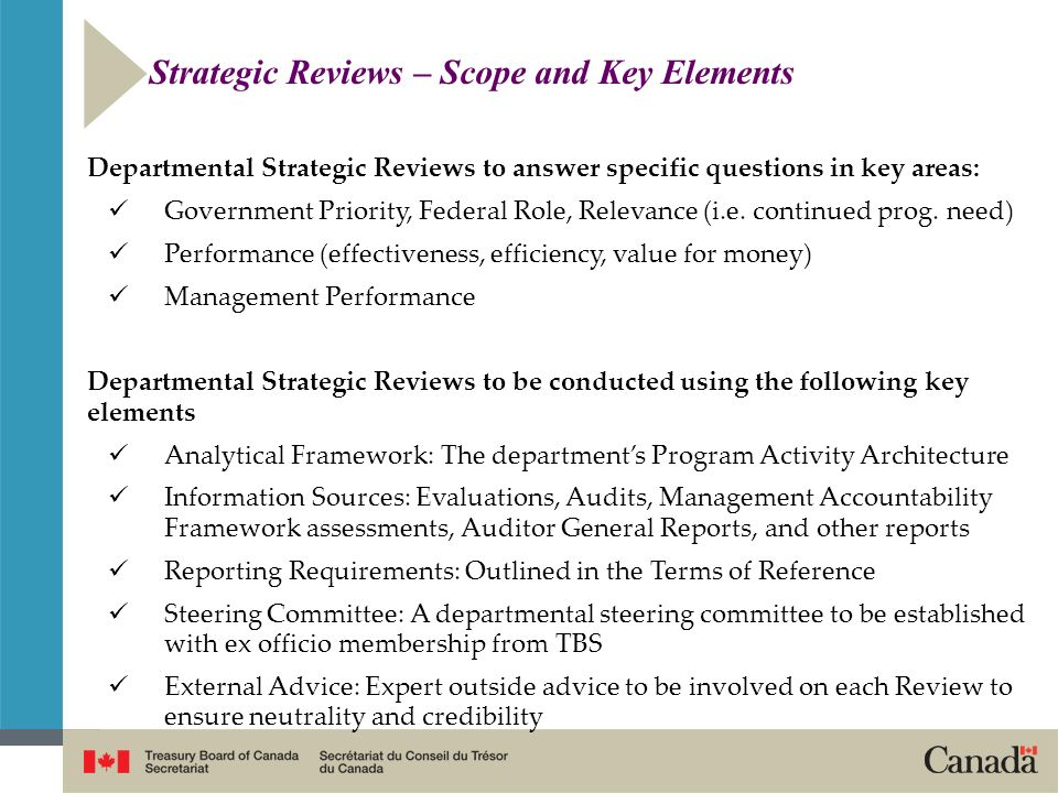 Strategic Reviews – Scope and Key Elements