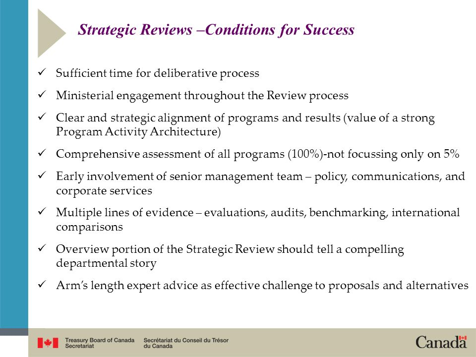 Strategic Reviews –Conditions for Success