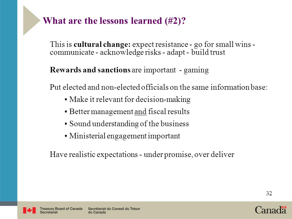 What are the lessons learned (#2)