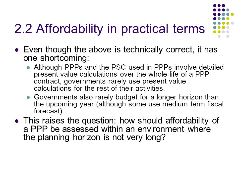 2.2 Affordability in practical terms