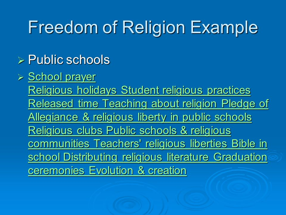 freedom of religion in public schools Public schools and free speech rightsfree speech rights in public elementary and secondary schools have arguing their religion rights to freedom of.