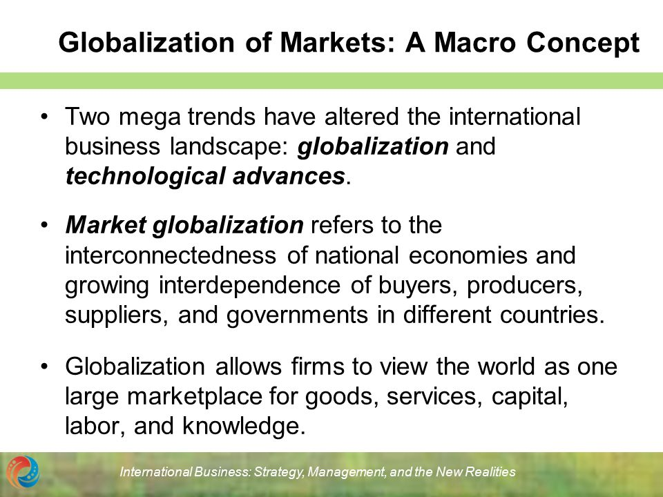 globalization of markets Read this essay on globalization of markets come browse our large digital warehouse of free sample essays get the knowledge you need in order to pass your classes.