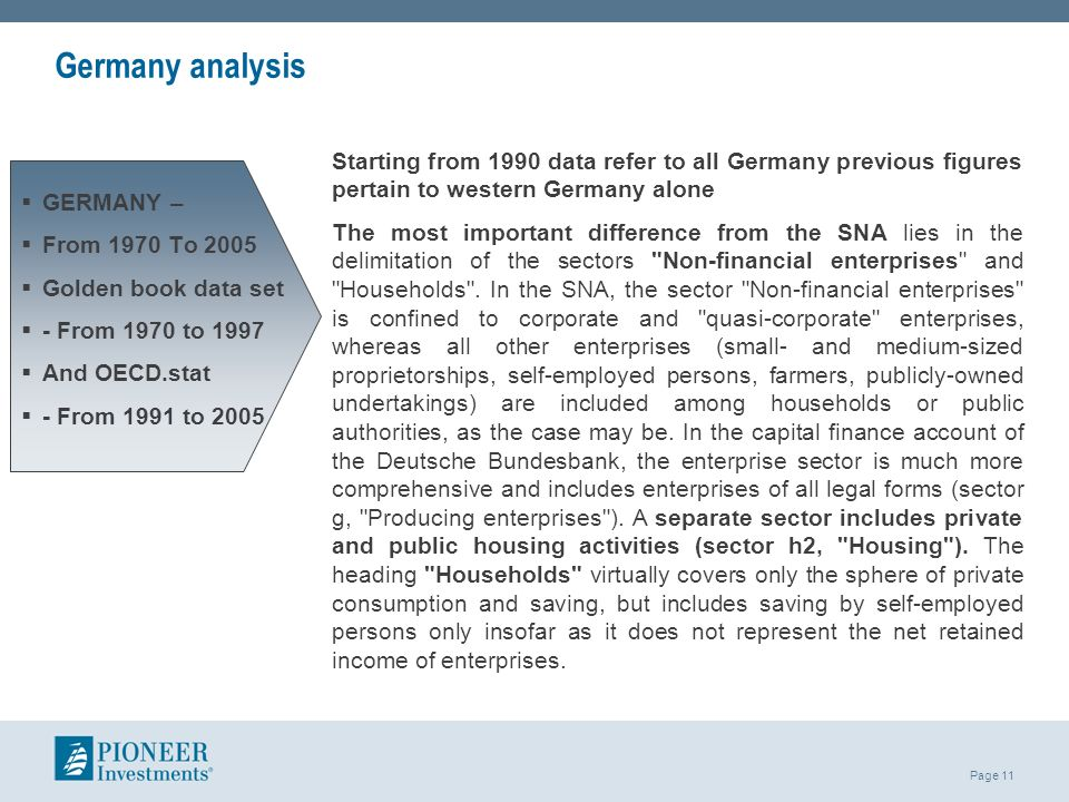 Germany analysis Starting from 1990 data refer to all Germany previous figures pertain to western Germany alone.
