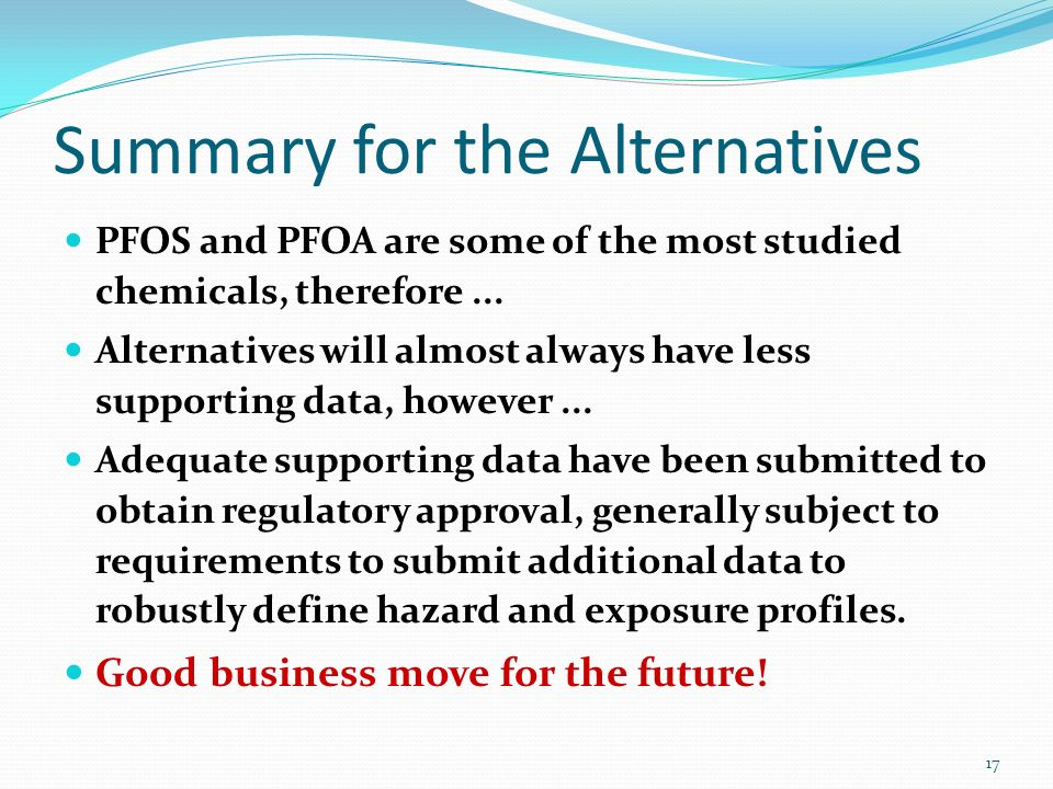 Summary for the Alternatives