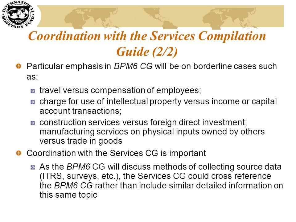 Coordination with the Services Compilation Guide (2/2)