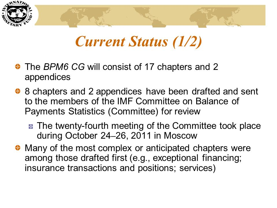 Current Status (1/2) The BPM6 CG will consist of 17 chapters and 2 appendices.