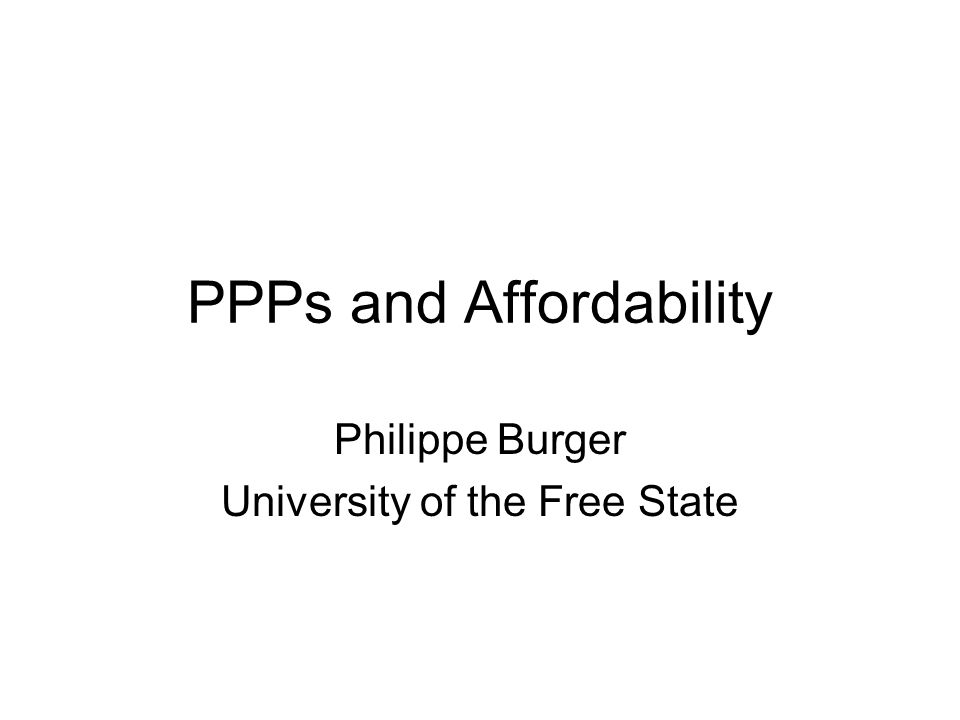 PPPs and Affordability
