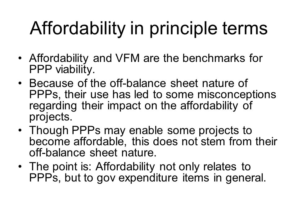 Affordability in principle terms