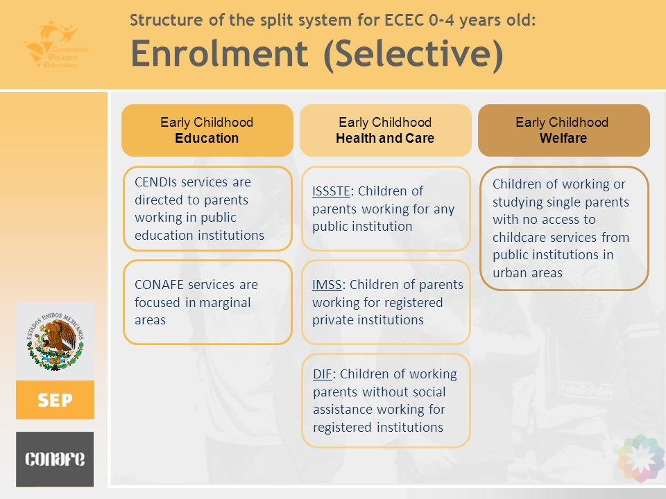 Structure of the split system for ECEC 0-4 years old: Enrolment (Selective)