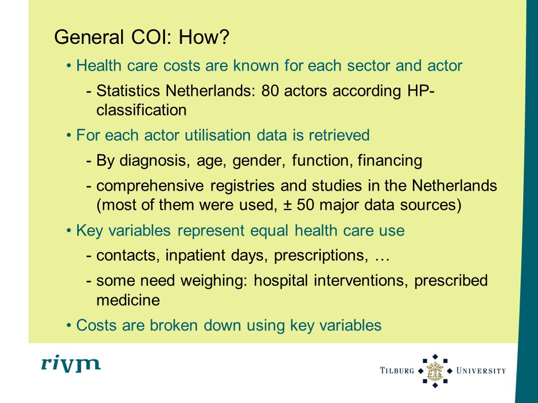General COI: How Health care costs are known for each sector and actor. Statistics Netherlands: 80 actors according HP-classification.