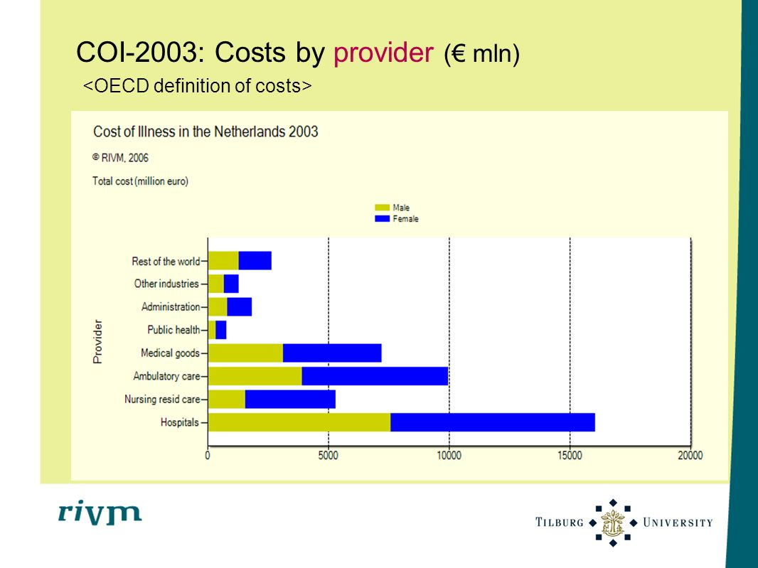COI-2003: Costs by provider (€ mln) <OECD definition of costs>