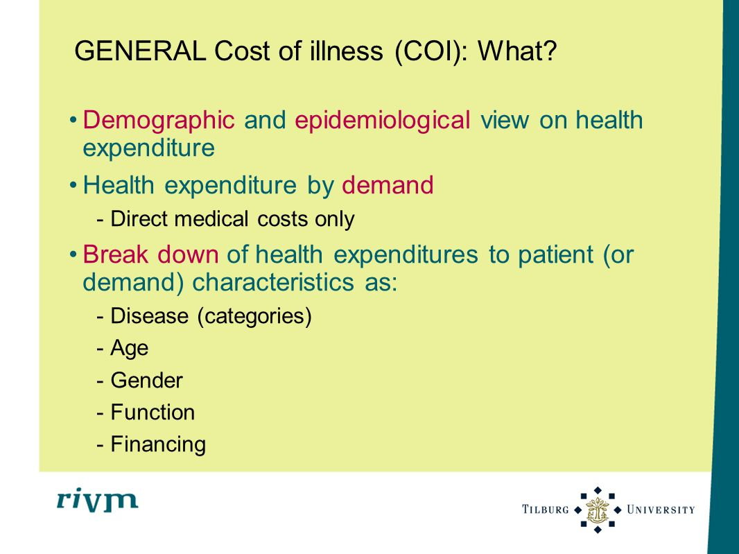 GENERAL Cost of illness (COI): What