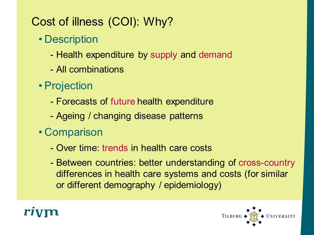 Cost of illness (COI): Why