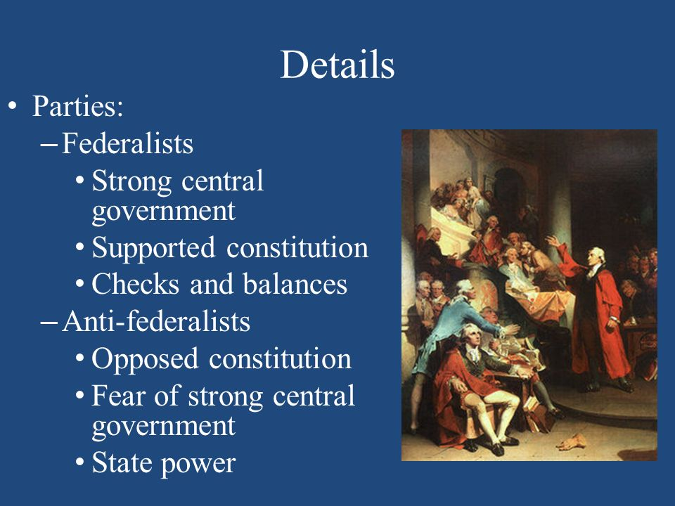 a strong central government Five months of debate, compromise, and creative strategies produced a new  constitution creating a federal republic with a strong central government, leaving .