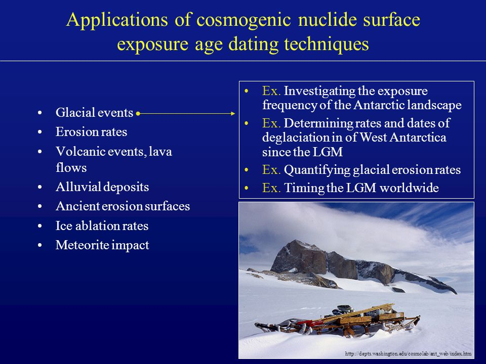 cosmogenic nuclide dating lab Physics-based modeling of cosmogenic nuclides part i designed to address specific issues 562 pertinent to cosmogenic nuclide dating 563 these results are.