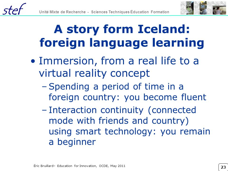A story form Iceland: foreign language learning