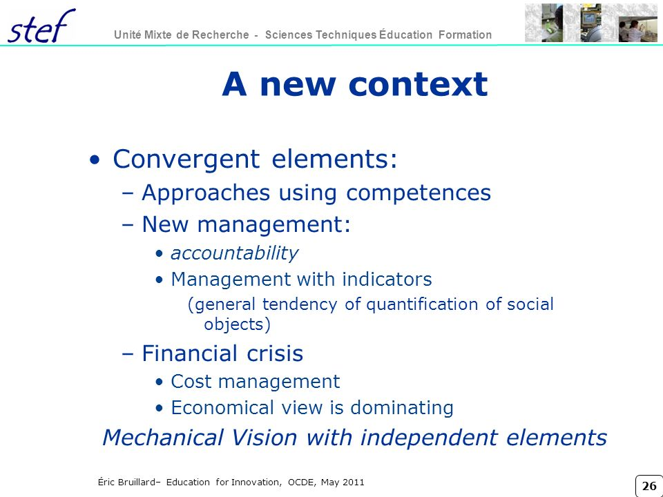 Mechanical Vision with independent elements
