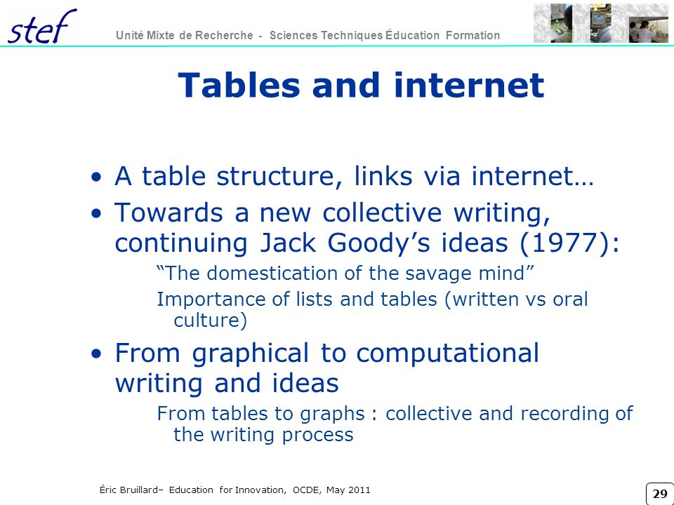 Tables and internet A table structure, links via internet…