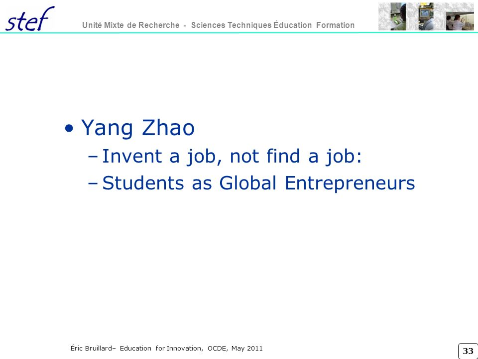 Yang Zhao Invent a job, not find a job: