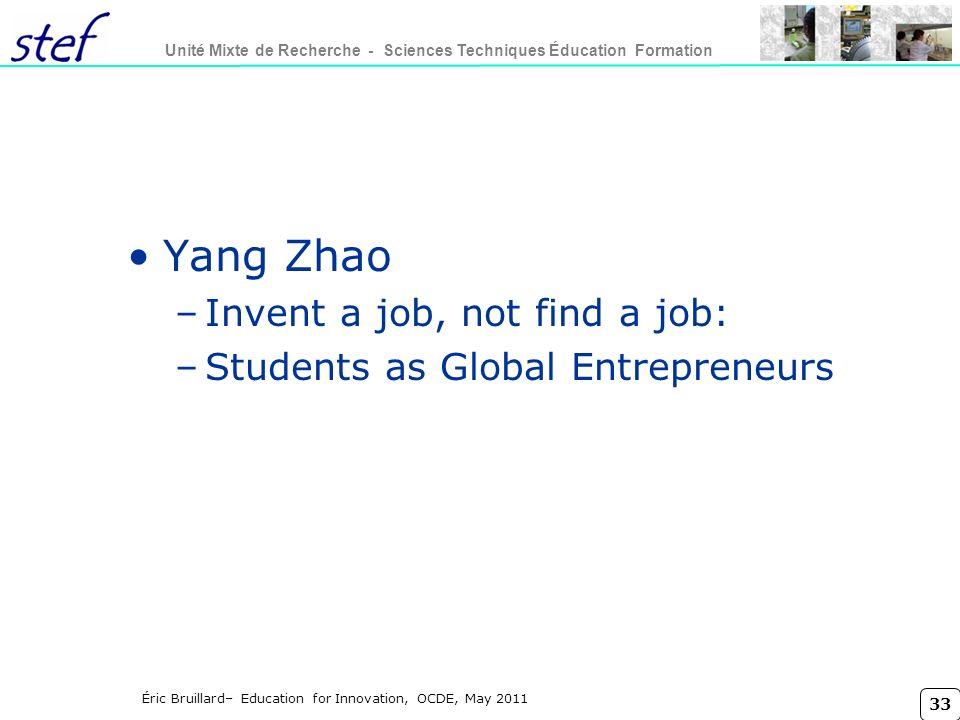 Yang Zhao Invent a job, not find a job: