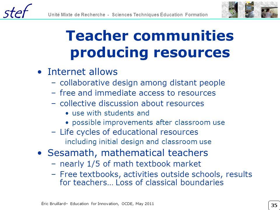 Teacher communities producing resources