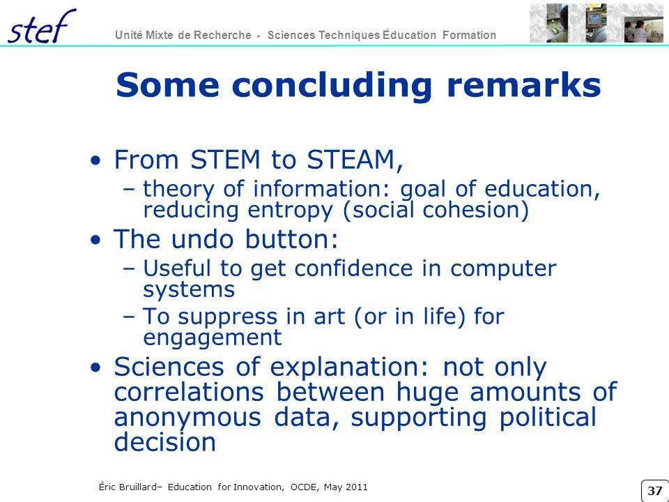 Some concluding remarks