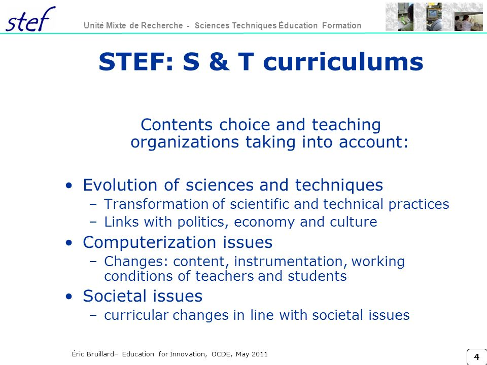Contents choice and teaching organizations taking into account: