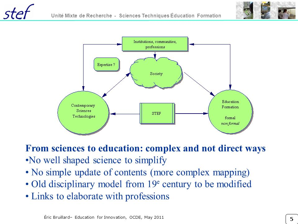 From sciences to education: complex and not direct ways