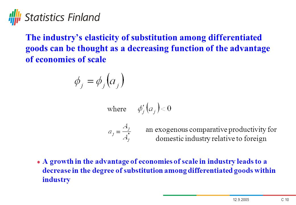 The industry's elasticity of substitution among differentiated goods can be thought as a decreasing function of the advantage of economies of scale