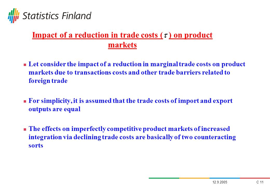 Impact of a reduction in trade costs ( ) on product markets