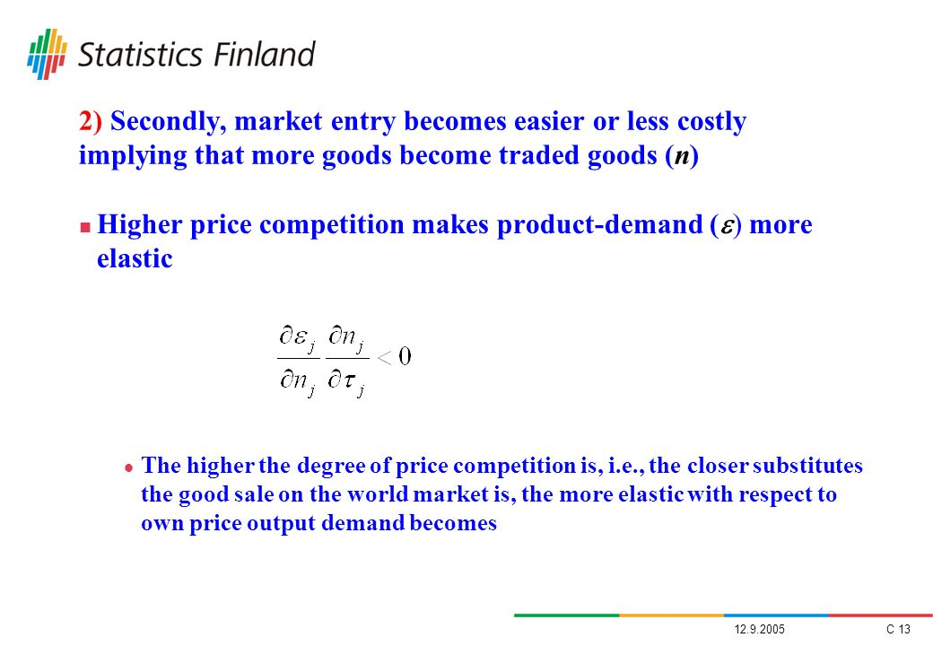 Higher price competition makes product-demand () more elastic