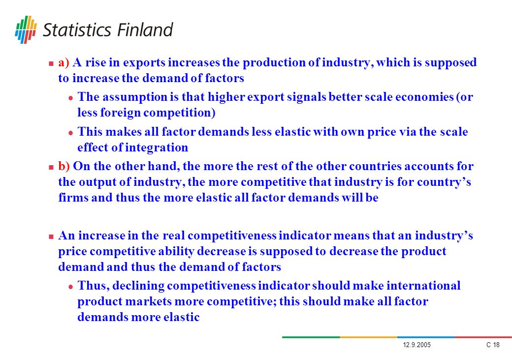 a) A rise in exports increases the production of industry, which is supposed to increase the demand of factors
