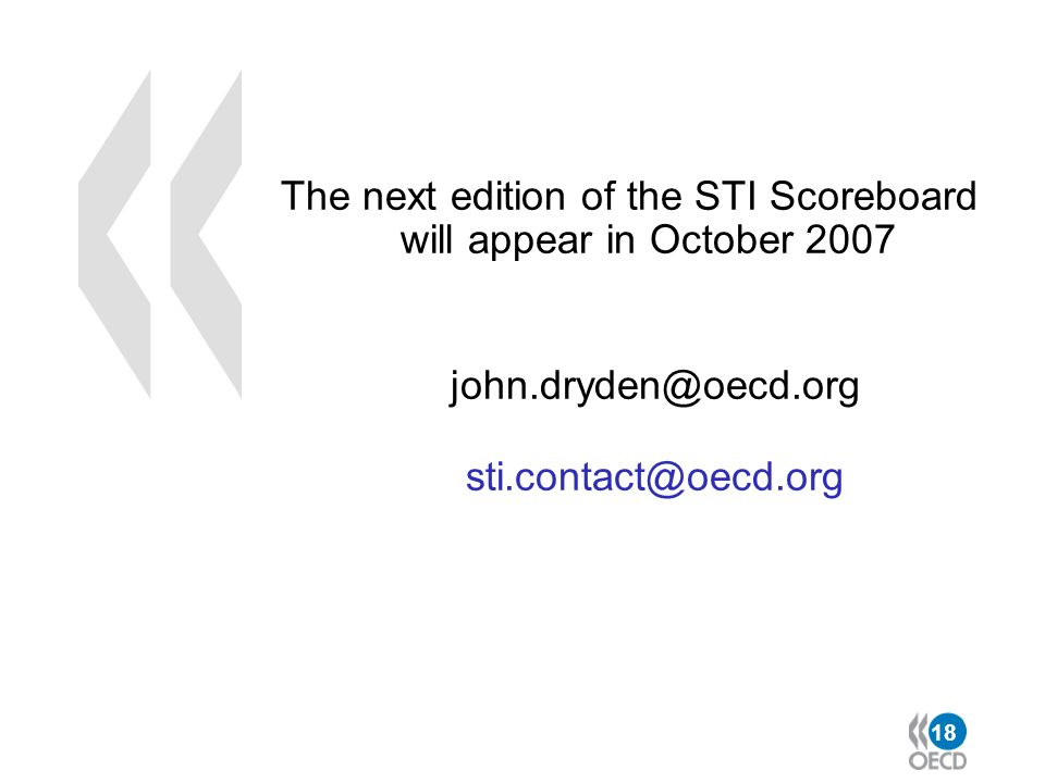 The next edition of the STI Scoreboard will appear in October 2007