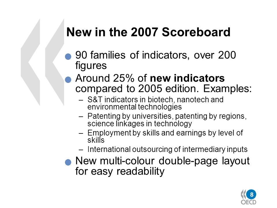 New in the 2007 Scoreboard 90 families of indicators, over 200 figures