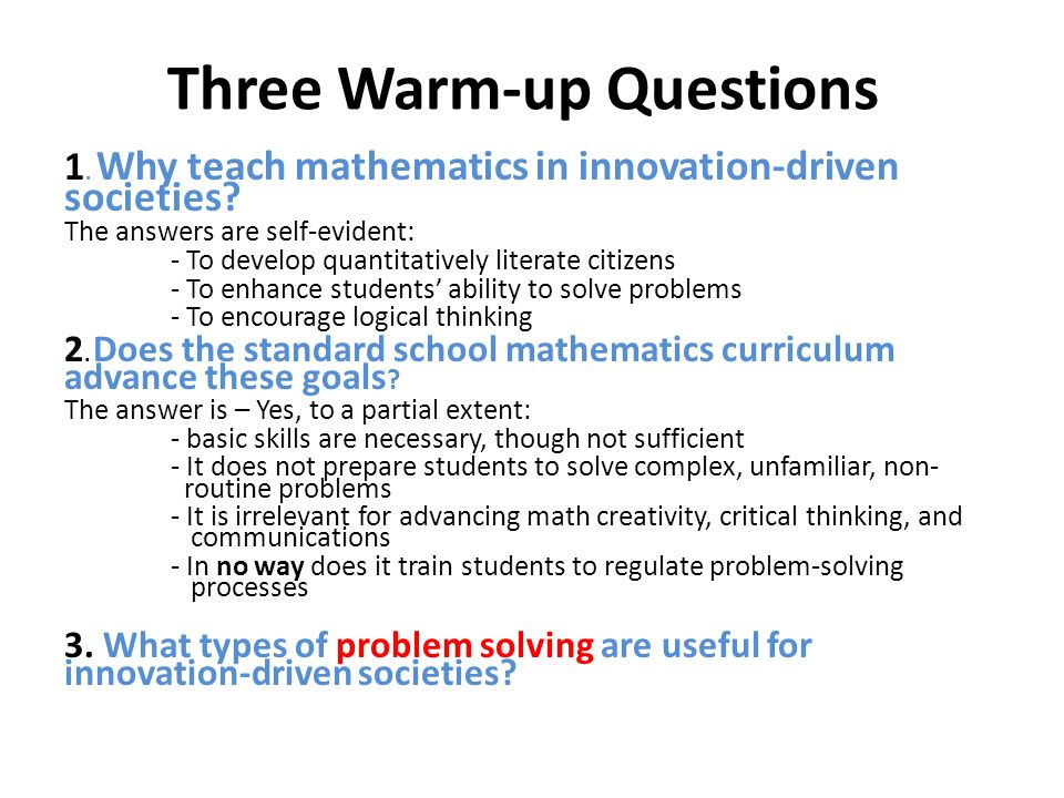 Three Warm-up Questions