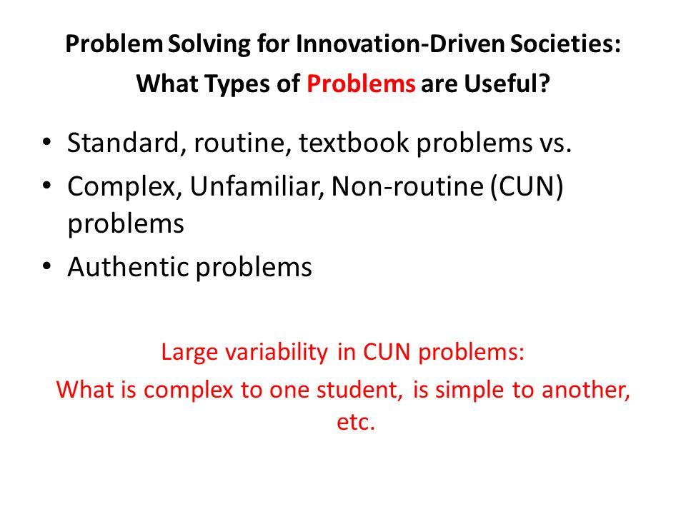 Standard, routine, textbook problems vs.