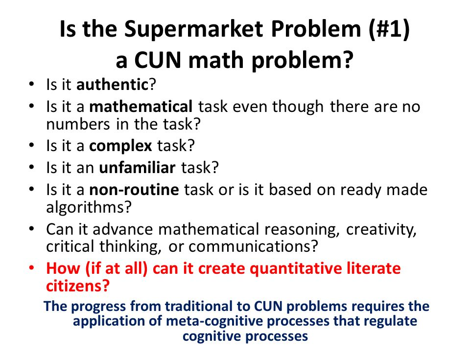 Is the Supermarket Problem (#1) a CUN math problem