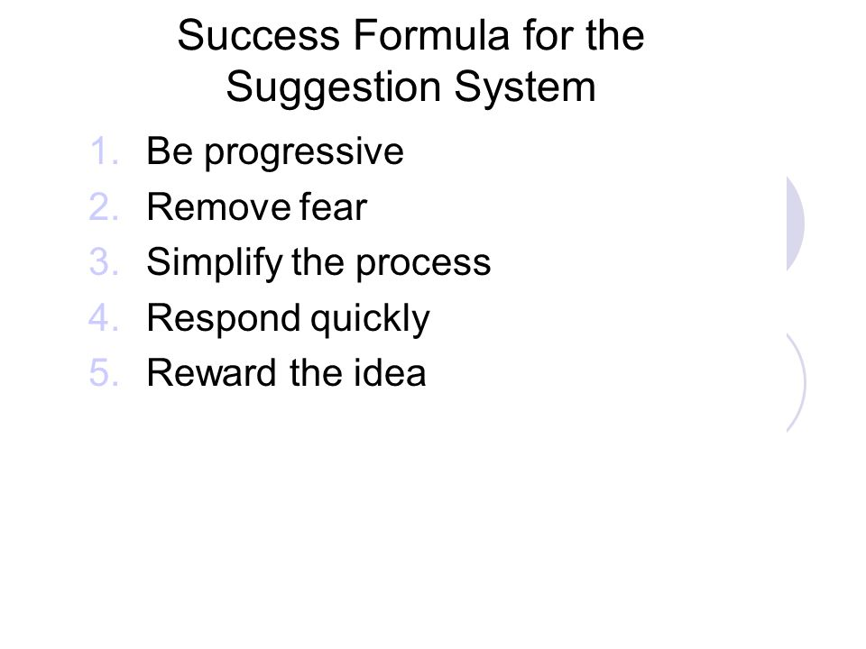 Success Formula for the Suggestion System