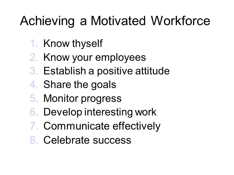 Achieving a Motivated Workforce