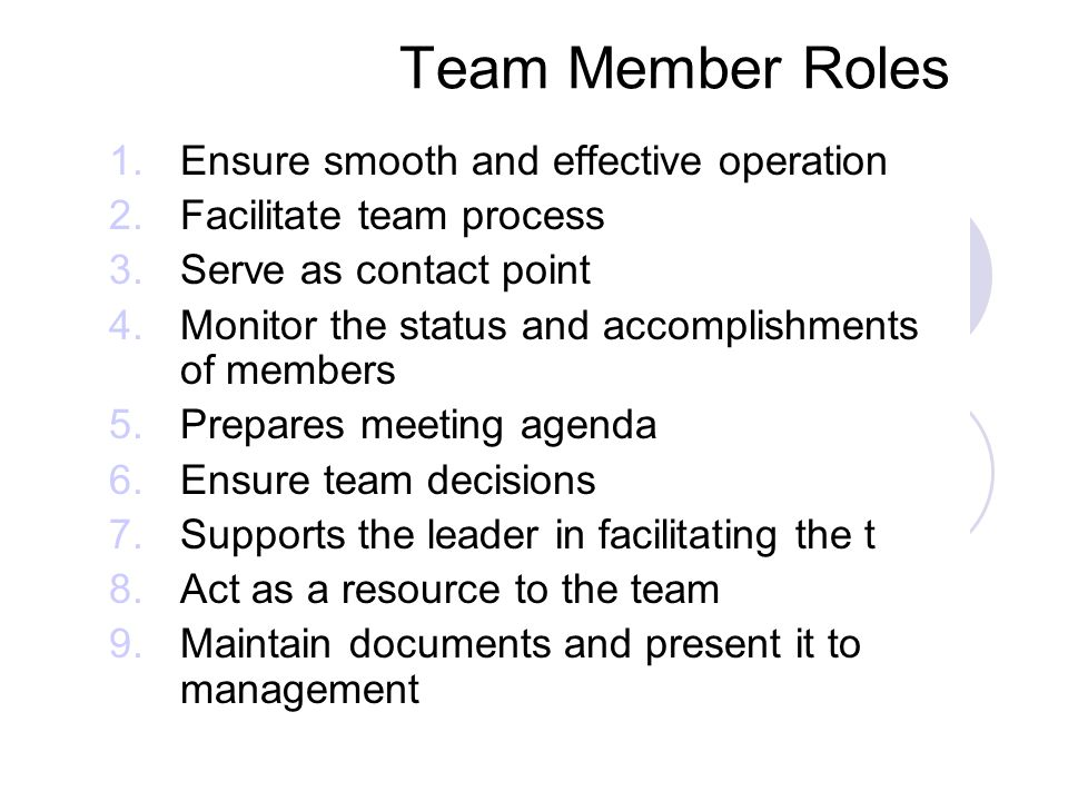 Team Member Roles Ensure smooth and effective operation