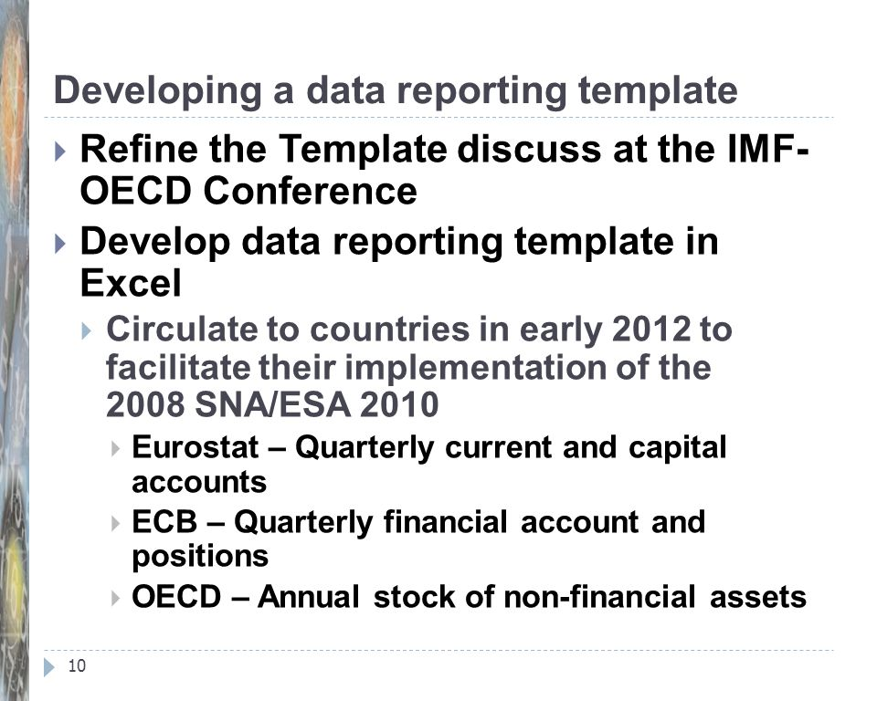 Developing a data reporting template