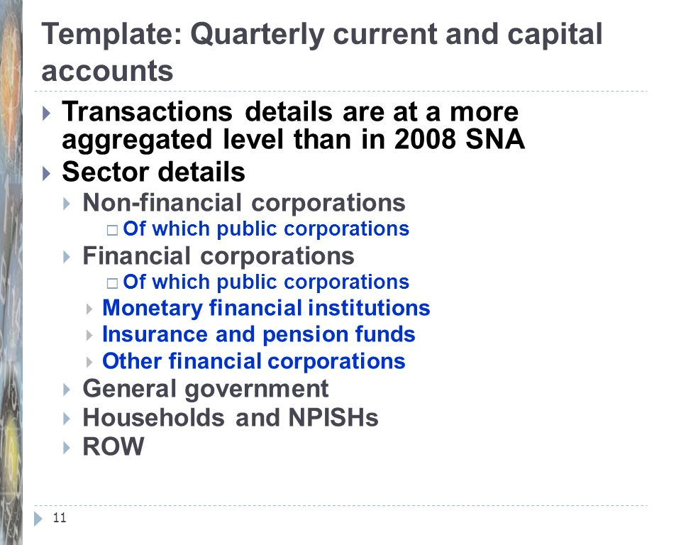 Template: Quarterly current and capital accounts