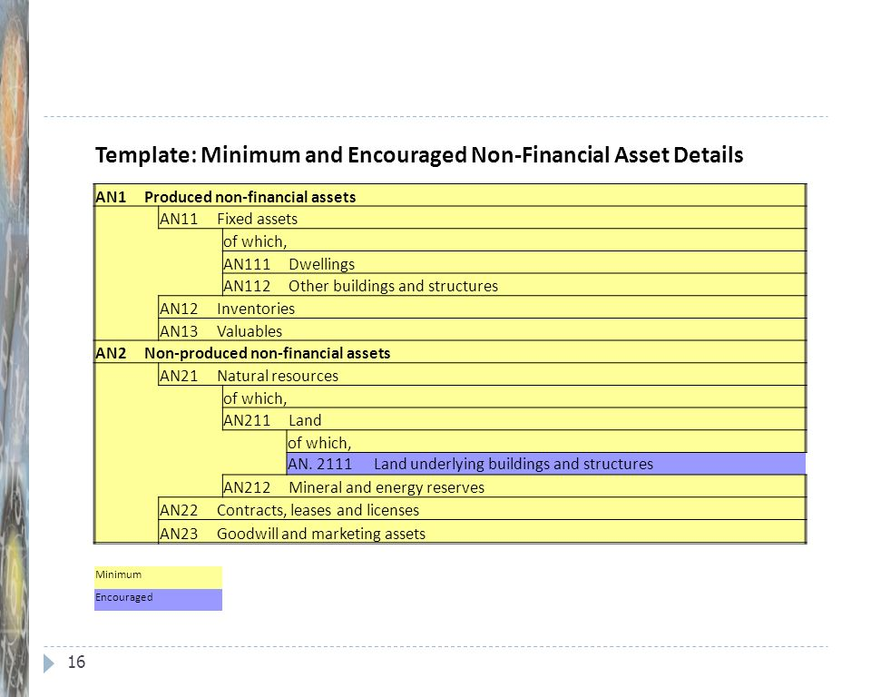 Template: Minimum and Encouraged Non-Financial Asset Details