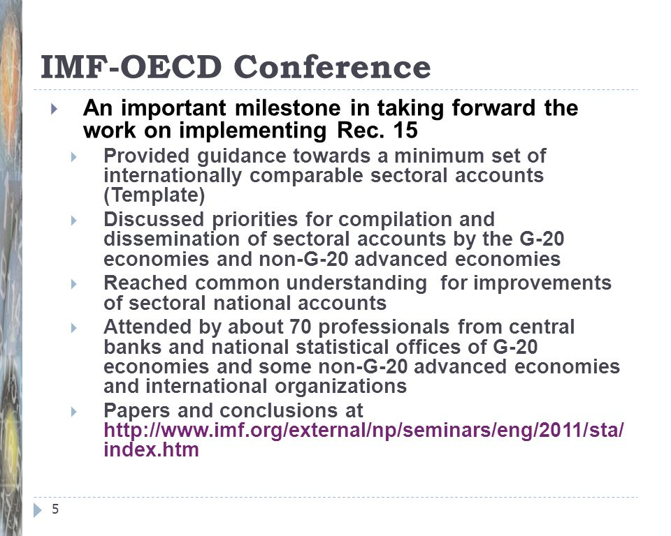 IMF-OECD Conference An important milestone in taking forward the work on implementing Rec. 15.