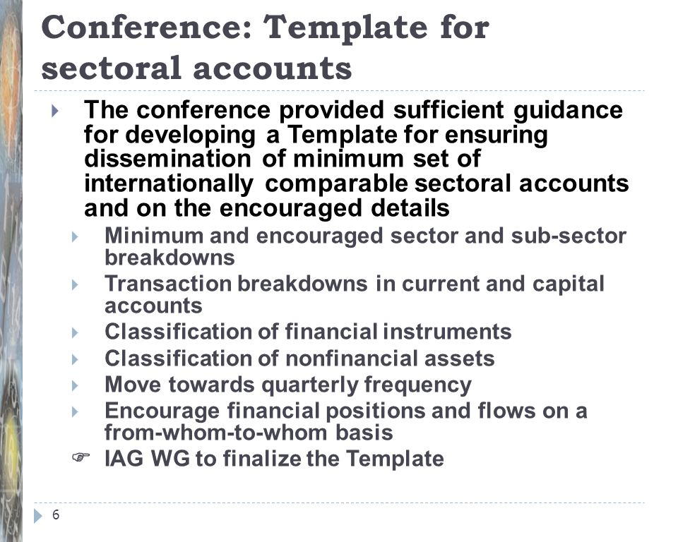 Conference: Template for sectoral accounts