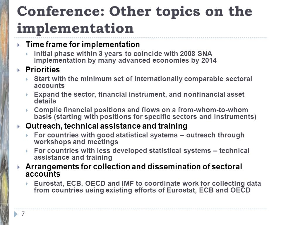 Conference: Other topics on the implementation