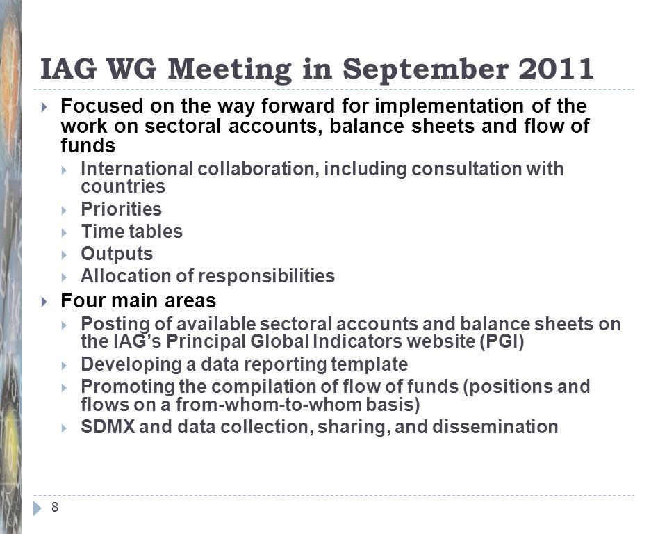IAG WG Meeting in September 2011