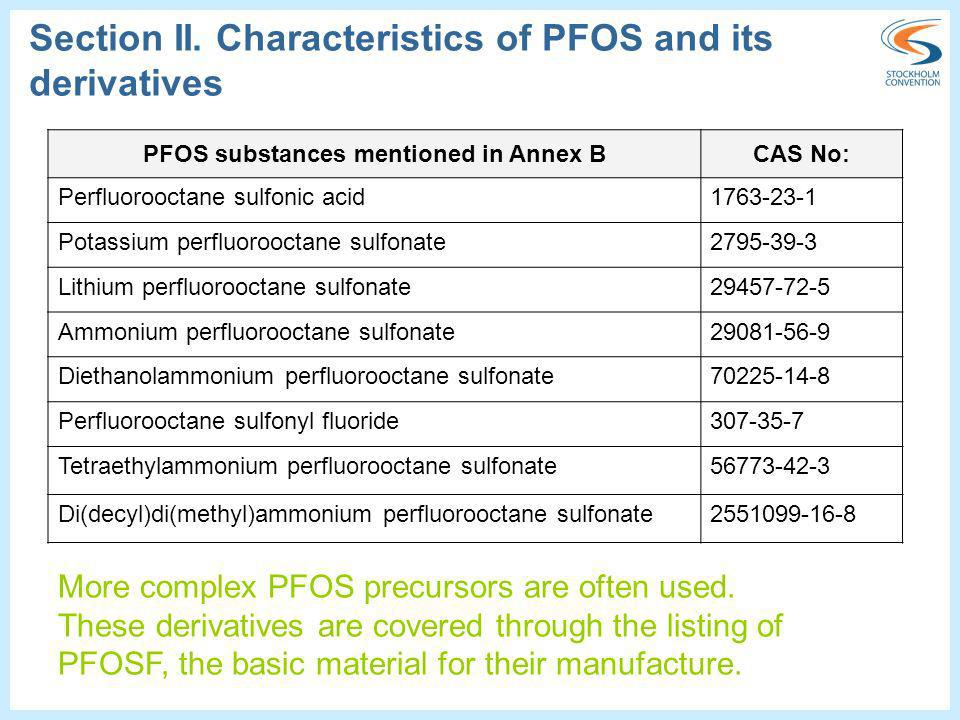 Section II. Characteristics of PFOS and its derivatives