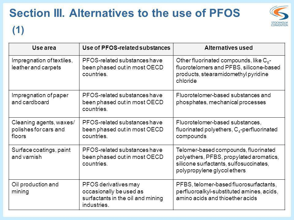 Use of PFOS-related substances