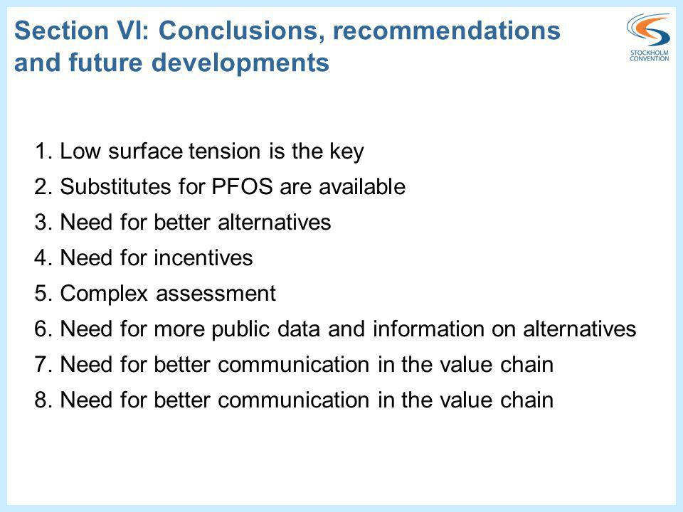 Section VI: Conclusions, recommendations and future developments